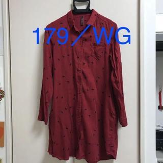 イチナナキュウダブルジー(179/WG)の179/WG シャツワンピース 赤 ポケット付き(ひざ丈ワンピース)