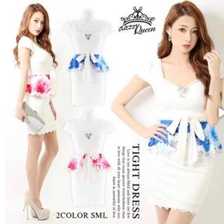 デイジーストア(dazzy store)のフラワープリントペプラムタイトミニドレス ブルー(ナイトドレス)