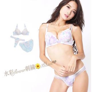 デイジーストア(dazzy store)の水彩flower刺繍チュール♡ブラ ノーマルショーツ Tバック 3点セット(ブラ&ショーツセット)