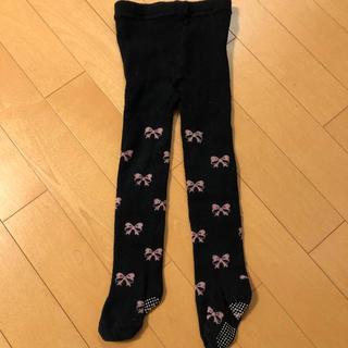 シマムラ(しまむら)のタイツ 85cm  黒×ピンクリボン柄(靴下/タイツ)
