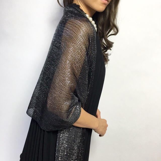 34f71d4b2135e 新品☆ ラメラメ 結婚式ショール フォーマル ストール ブラック レディースのフォーマル ドレス(その他