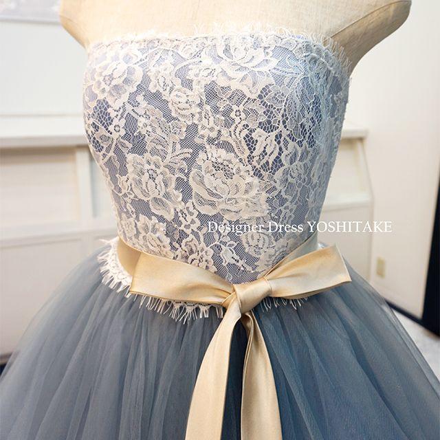 ウエディングドレス(パニエ無料) ブルーグレイチュール ブライダル披露宴/二次会 レディースのフォーマル/ドレス(ウェディングドレス)の商品写真