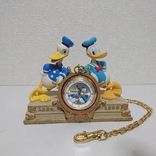 ドナルドダック(ドナルドダック)の値下 限定 レア ドナルド 懐中時計 置時計 フィギュア ディズニー 1999年(キャラクターグッズ)