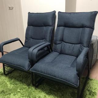 ドウシシャ(ドウシシャ)の送料込み可★インテリアチェア 2点セット ネイビー 高座椅子(ダイニングチェア)
