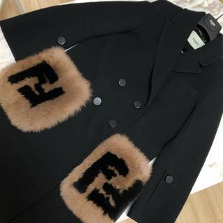 フェンディ(FENDI)の完売 正規品 FENDI フェンディ FFポケットコート 38 ブラック(ロングコート)