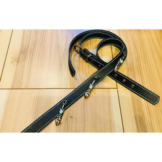 ギター ストラップ PUレザー ブラック 羽 ③ 126 水色ステッチ(ストラップ)