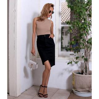 アナップ(ANAP)のANAP ランダムヘムチノタイトスカート ブラック(ひざ丈スカート)