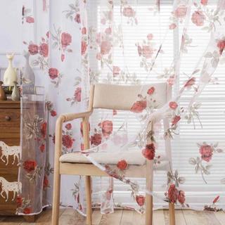 レースカーテン 真っ赤な薔薇 【am834-1】(レースカーテン)