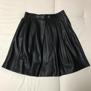マカフィー(MACPHEE)のフェイクレザー フレアースカート ブラック(ひざ丈スカート)