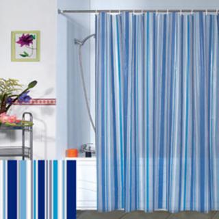 シャワーカーテン ロング 180cm×180cm 防カビ ストライプ 青 ブルー(カーテン)