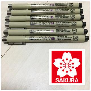 サクラクレパス(サクラクレパス)のイラスト・ゼンタングル・漫画用 耐水性顔料ピグマペン6種類セットB 新品未使用(ペン/マーカー)