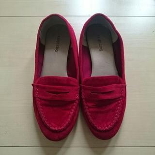 シマムラ(しまむら)の[送料込]SH-4 ワインレッドフラットベロアシューズ(ローファー/革靴)