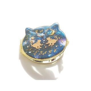 送料無料!猫顔型  銀河星雲 リボンの猫 コンパクトミラー 鏡
