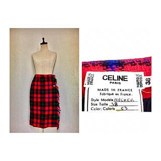 セフィーヌ(CEFINE)の80s CELINE VINTAGE WRAP SKIRT セリーヌ チェック(ひざ丈スカート)