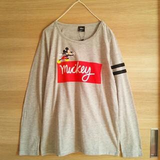 ディズニー(Disney)の新品Disneyミッキー*長袖Tシャツ灰色*未使用ディズニー*送料無料Mサイズ(Tシャツ(長袖/七分))