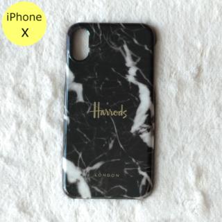 ハロッズ(Harrods)のHarrods 大理石柄 ハード iPhoneケース X ブラック(iPhoneケース)