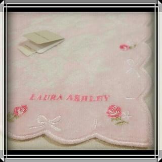 ローラアシュレイ(LAURA ASHLEY)の⑨ ローラアシュレイ 新品 タオルハンカチ LAURA ASHLEY 薔薇 ☆(ハンカチ)