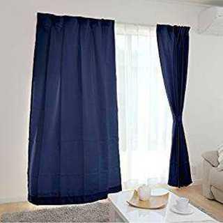 ☆カーテン 4枚組☆(ドレープ2枚・レース2枚) UVカット 洗える  ネイビー(カーテン)