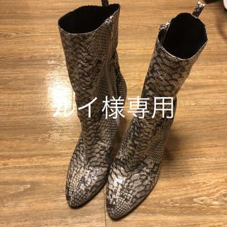 イエローブーツ(Yellow boots)のYELLOパイソンショートブーツ☆サイズL24.5☆ 売り切り値下げ!!(ブーツ)
