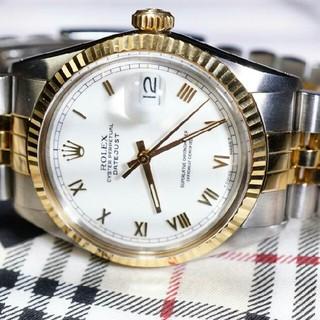 ロレックス(ROLEX)のROLEX ロレックス メンズ デイトジャスト 腕時計 ローマ数字 白文字盤 (腕時計(アナログ))