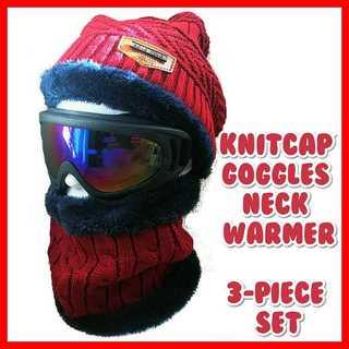 スノーボード ゴーグル スノボ スキー スノー ニット帽 赤 スヌード セット(アクセサリー)