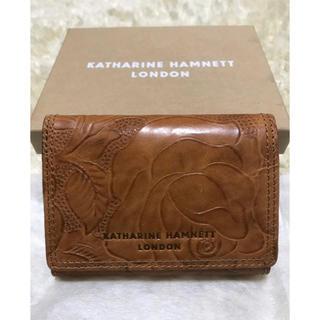 キャサリンハムネット(KATHARINE HAMNETT)のキャサリンハムネット 新品 財布 三つ折り 本革 レザー バラ 型押し 送料無料(折り財布)