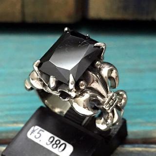 半額★スクエアブラックキュービックリング★本物シルバー925リング 指輪(リング(指輪))