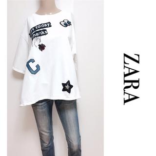 ZARA - ZARA ▶︎ゆるカジ ワッペン付 Tシャツ カットソー♡ロデオクラウンズ