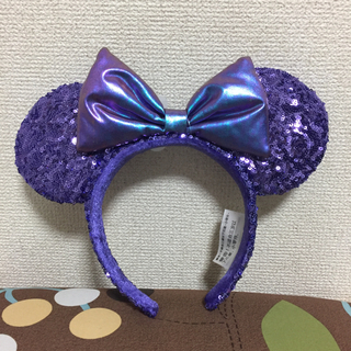 ディズニー(Disney)の♡海外ディズニー♡ムラサキスパンコール♡カチューシャ♡(カチューシャ)