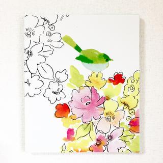 【再入荷】小鳥とお花のファブリックパネル①(ファブリック)