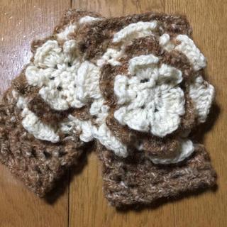 ブラウン×ホワイトのツートンカラーハンドウォーマー(手袋)
