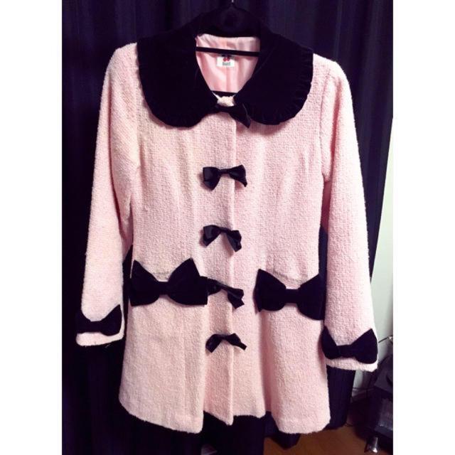 Heart E(ハートイー)のHeartE バイカラーリボンコート レディースのジャケット/アウター(ロングコート)の商品写真