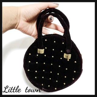 値下げ可◆*vintageベロア素材スタッズハンドバッグ*◆(ハンドバッグ)