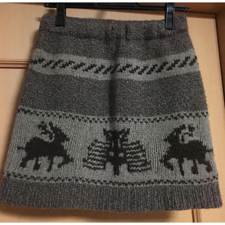 ナバアサナ(navasana)のnavasana★ニットスカート★鹿柄(ミニスカート)