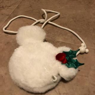 ディズニー(Disney)の冬のモチーフ ミッキー ホワイト 首かけコインケース(コインケース)