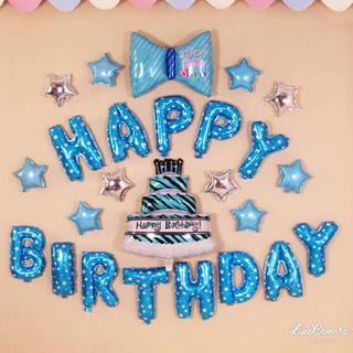 ビッグリボン ビッグケーキ 誕生日 バルーン  パーティーグッズ 飾り 星 青