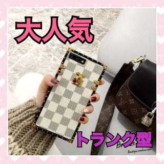 ⭐️年末SALE⭐️【トランク型 iPhone7.8】ホワイト チェック 格子柄(iPhoneケース)