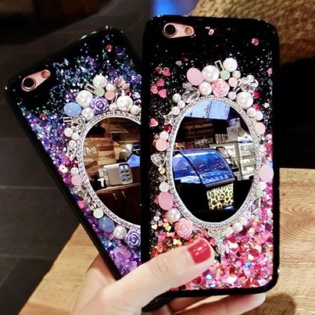 iphone6 ケース hermes | 可愛い キラキラ ラメが流れる 鏡付きiPhone 用ケースの通販 by shop|ラクマ