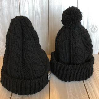 ⭐︎親子でお揃い ニット帽(黒)(帽子)