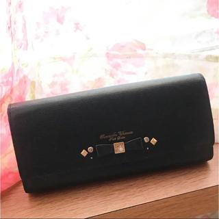 サマンサタバサプチチョイス(Samantha Thavasa Petit Choice)のサマンサタバサ 長財布 プチチョイス リボン ビジュー 黒 ブラック(財布)
