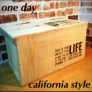 りんご箱 ハンドメイド 収納 ベンチ 椅子 蓋付(家具)