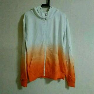 パーカー ホワイト×オレンジ XL(パーカー)