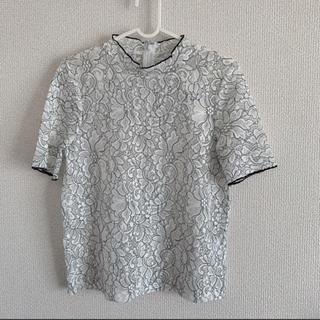 ジーユー(GU)の未使用 レースフリルネック(カットソー(半袖/袖なし))