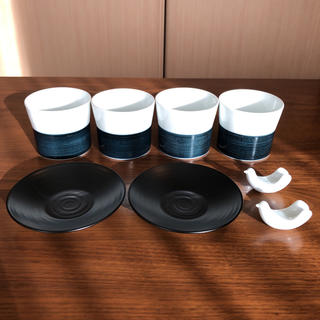 ハクサントウキ(白山陶器)の白山陶器 麻の糸 フリーカップ+小皿(茶托)+はしおき 計8点セット 波佐見焼(食器)