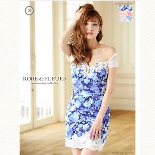 アン(an)のROBE de FLEURS*オフショル*ブルー*フラワー*ドレス(ミニドレス)