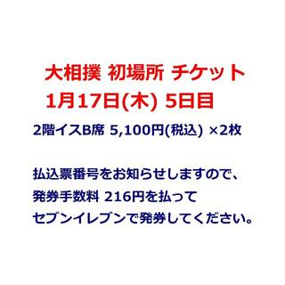 大相撲 初場所 1月17日(木) 5日目 2階イスB席×2枚 1/17(相撲/武道)