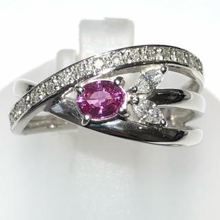 pt900 プラチナ900 ピンクサファイア ダイヤモンド リング 指輪 15号(リング(指輪))