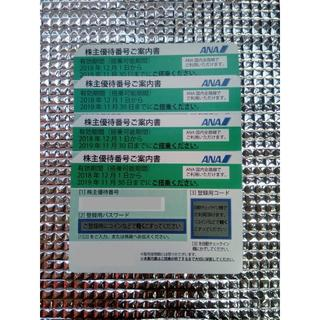 ANA 株主優待割引券 クリックポスト無料 19年11月末まで 4枚(航空券)