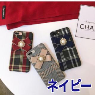 ⭐️年末SALE⭐️♡【チェック リボンケース】iPhone7.8ネイビー(iPhoneケース)