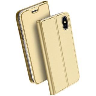 iPhoneX ゴールド シンプル 手帳型 ケース(iPhoneケース)